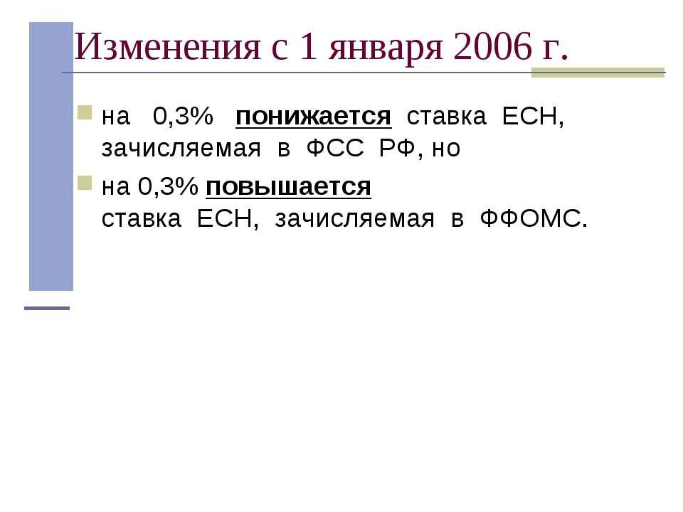 Изменения с 1 января 2006 г. на 0,3% понижается ставка ЕСН, зачисляемая...