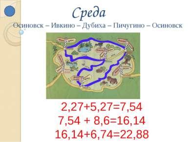 Среда 2,27+5,27=7,54 7,54 + 8,6=16,14 16,14+6,74=22,88 Осиновск – Ивкино – Ду...