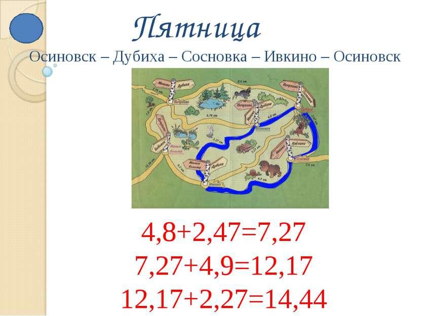 Пятница 4,8+2,47=7,27 7,27+4,9=12,17 12,17+2,27=14,44 Осиновск – Дубиха – Сос...