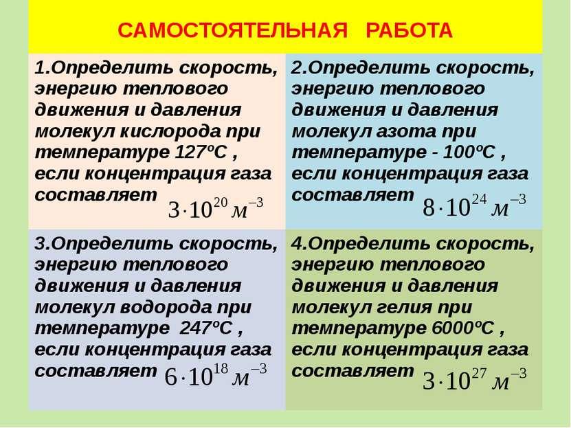САМОСТОЯТЕЛЬНАЯ РАБОТА 1.Определить скорость, энергию теплового движения и да...