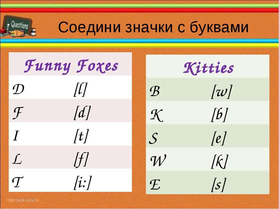 Соедини значки с буквами * * Funny Foxes D [l] F [d] I [t] L [f] T [i:] Kitti...