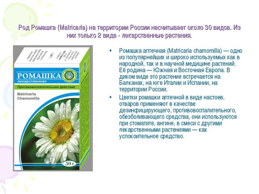 Род Ромашка (Matricaria) на территории России насчитывает около 30 видов. Из ...