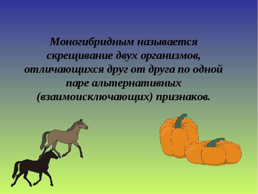 Моногибридным называется скрещивание двух организмов, отличающихся друг от др...