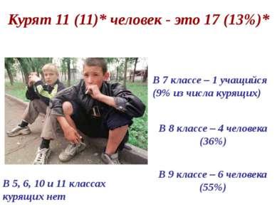Курят 11 (11)* человек - это 17 (13%)* В 8 классе – 4 человека (36%) В 7 клас...