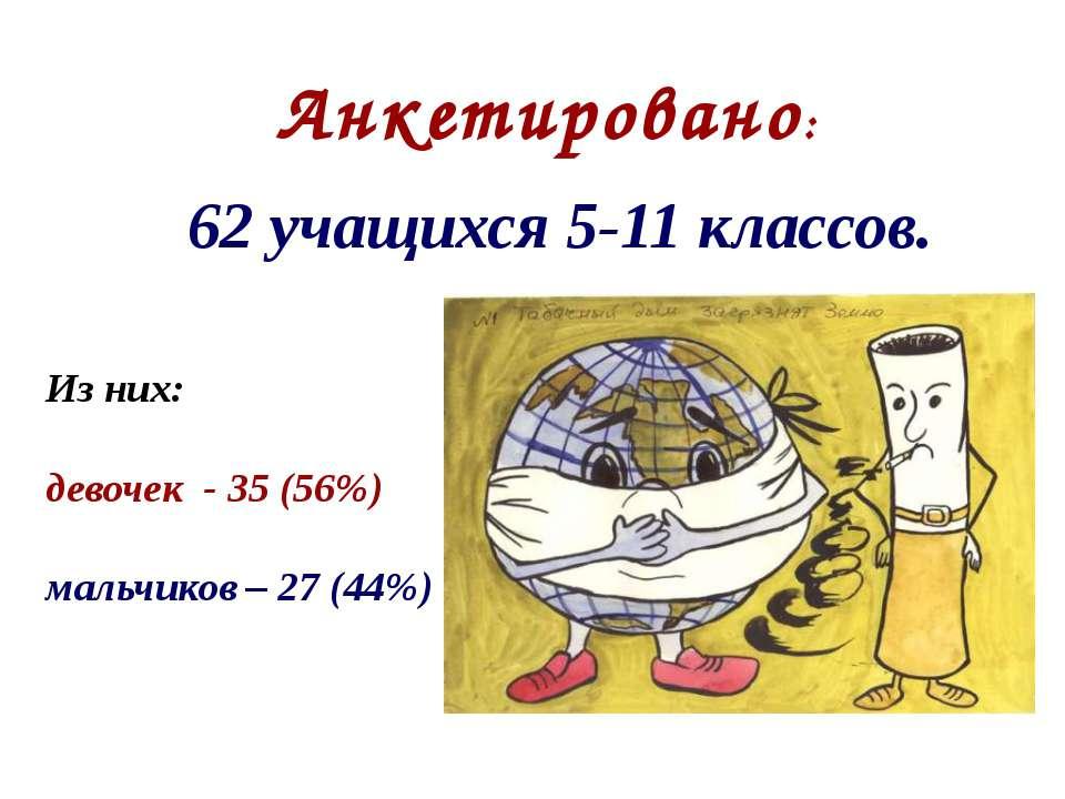 Анкетировано: 62 учащихся 5-11 классов. Из них: девочек - 35 (56%) мальчиков ...