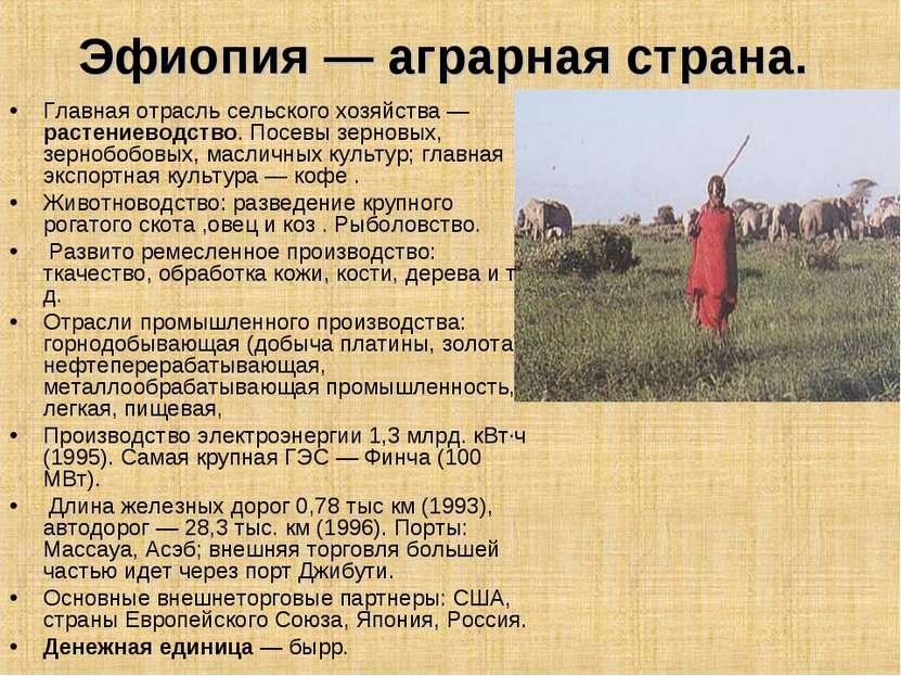 Эфиопия — аграрная страна. Главная отрасль сельского хозяйства — растениеводс...