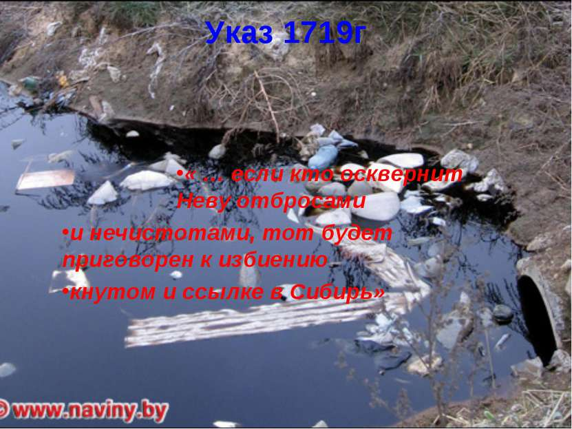 Указ 1719г « … если кто осквернит Неву отбросами и нечистотами, тот будет при...