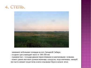 - занимают небольшие площади на юге Западной Сибири, - осадков здесь выпадает...