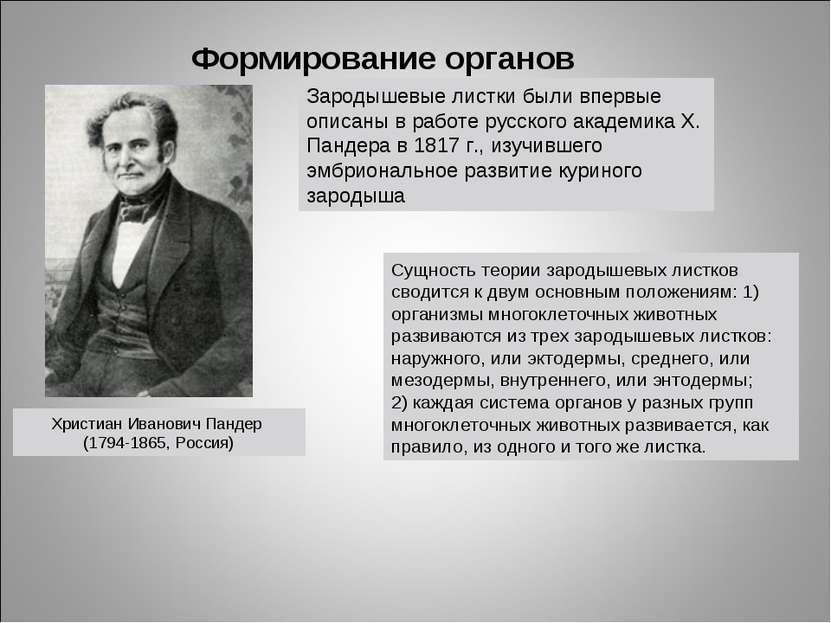 Формирование органов Христиан Иванович Пандер (1794-1865, Россия) Сущность те...