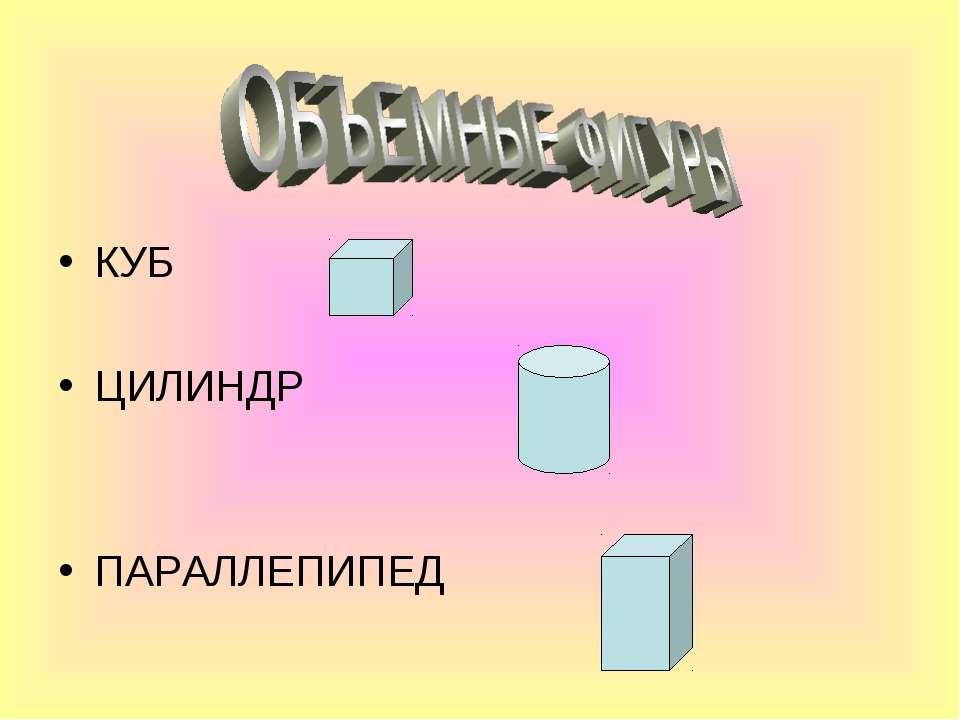 КУБ ЦИЛИНДР ПАРАЛЛЕПИПЕД