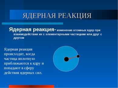 ЯДЕРНАЯ РЕАКЦИЯ Ядерная реакция- изменение атомных ядер при взаимодействии их...