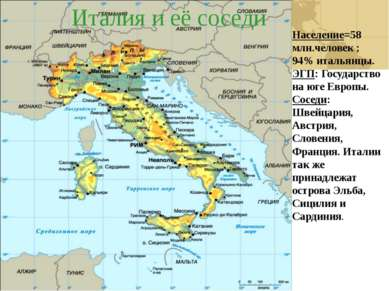 Италия и её соседи Население=58 млн.человек ; 94% итальянцы. ЭГП: Государство...