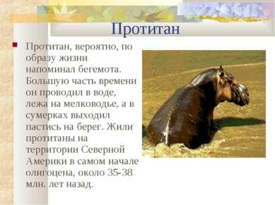 Протитан Протитан, вероятно, по образу жизни напоминал бегемота. Большую част...
