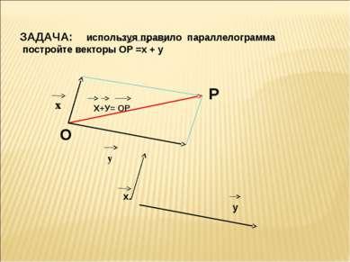 ЗАДАЧА: используя правило параллелограмма постройте векторы ОР =х + у Х+У= ОР...