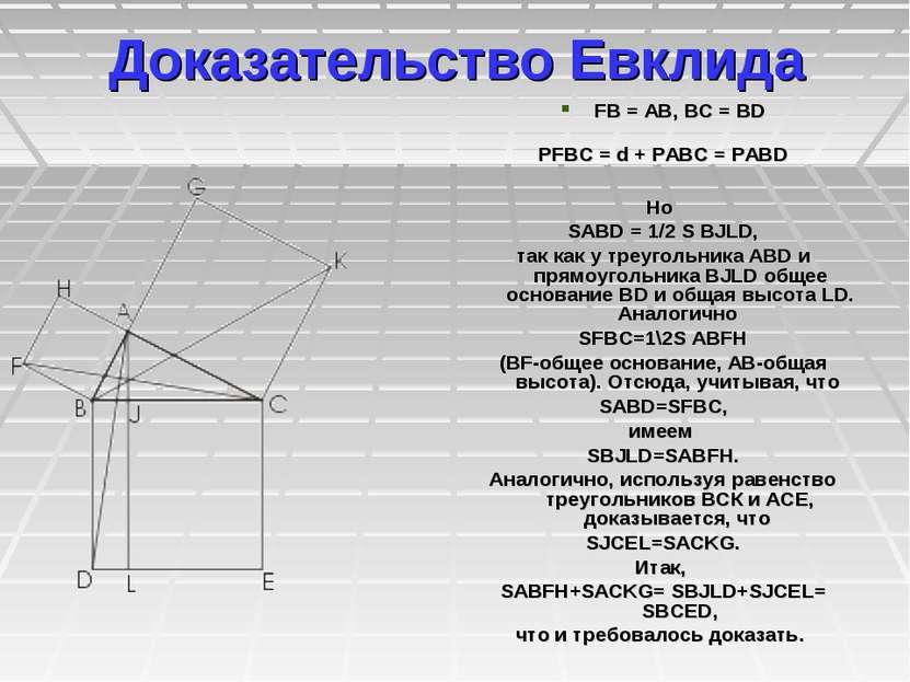 Доказательство Евклида FB=AB, BC=BD РFBC=d+РABC=РABD Но SABD=1/2...