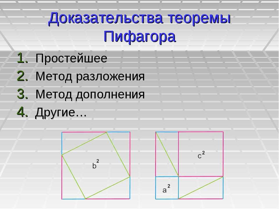 Доказательства теоремы Пифагора Простейшее Метод разложения Метод дополнения ...