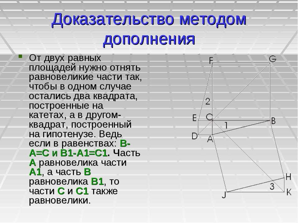 Доказательство методом дополнения От двух равных площадей нужно отнять равнов...