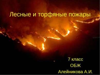 Лесные и торфяные пожары 7 класс ОБЖ Алейникова А.И.
