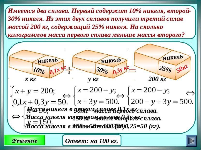Имеется два сплава. Первый содержит 10% никеля, второй- 30% никеля. Из этих д...