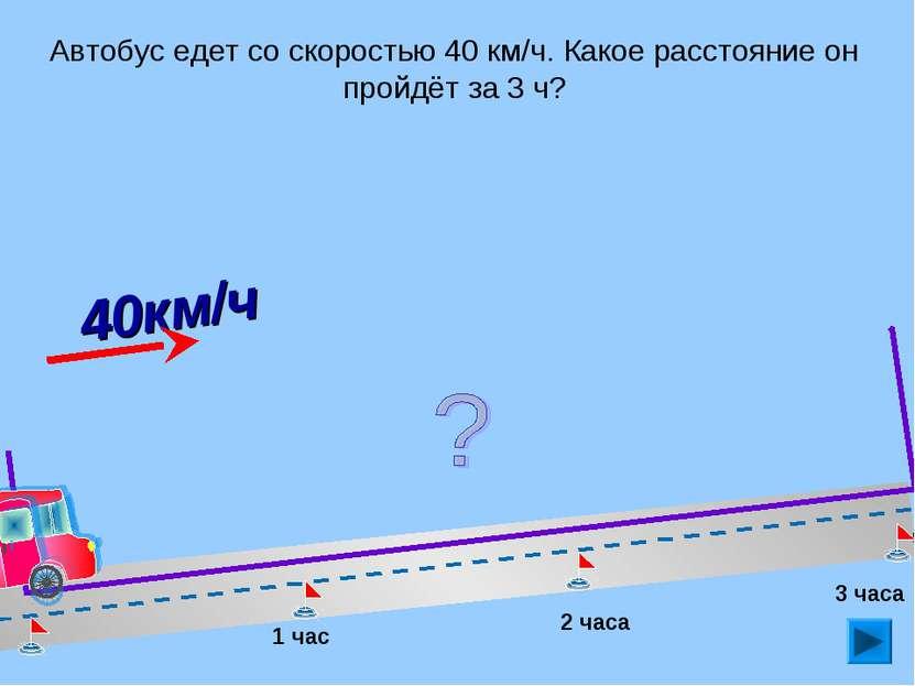 Автобус едет со скоростью 40 км/ч. Какое расстояние он пройдёт за 3 ч? 1 час ...