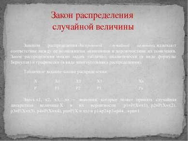 Законом распределениядискретной случайной величиныназывают соответствие меж...
