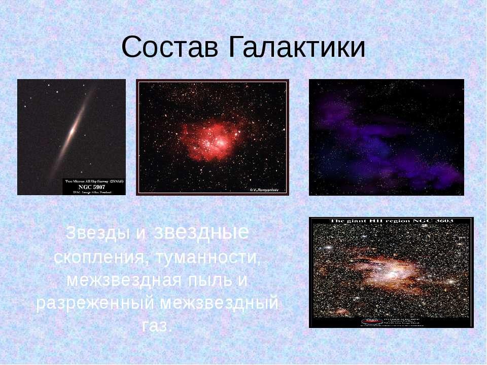 Состав Галактики Звезды и звездные скопления, туманности, межзвездная пыль и ...