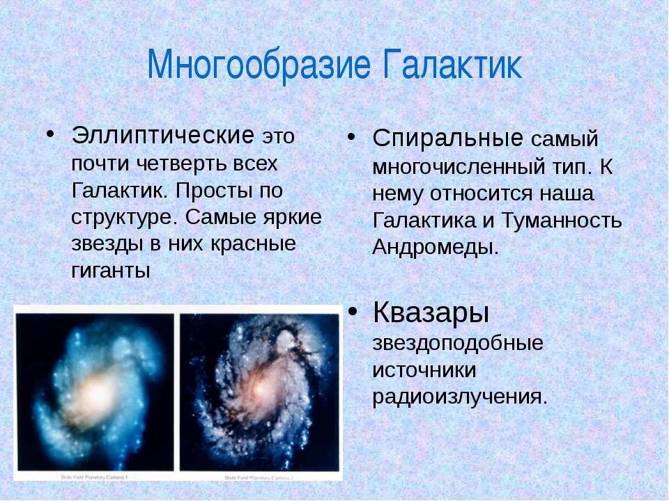 Многообразие Галактик Эллиптические это почти четверть всех Галактик. Просты ...