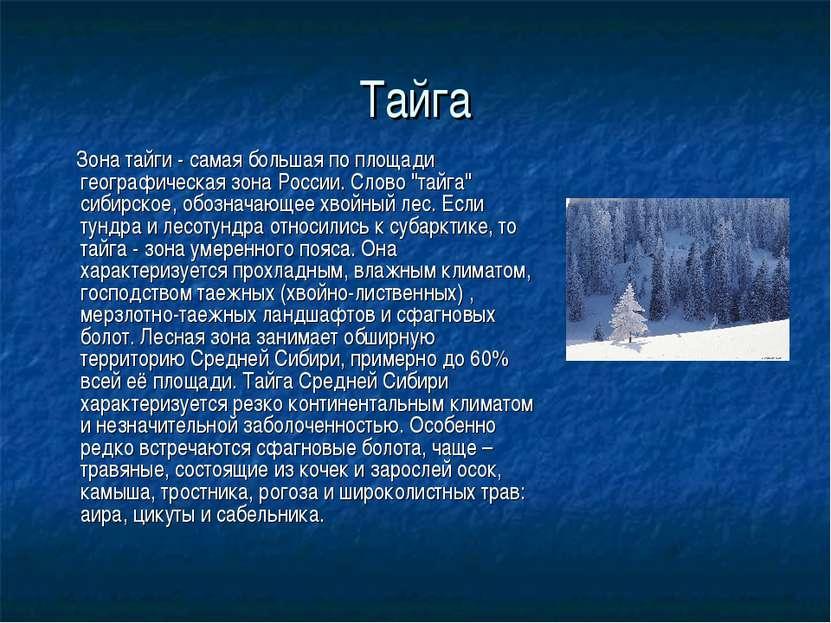 Тайга Зона тайги - самая большая по площади географическая зона России. Слово...