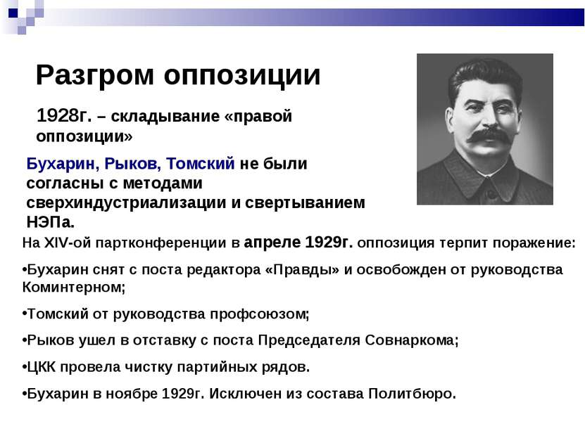 Разгром оппозиции 1928г. – складывание «правой оппозиции» Бухарин, Рыков, Том...