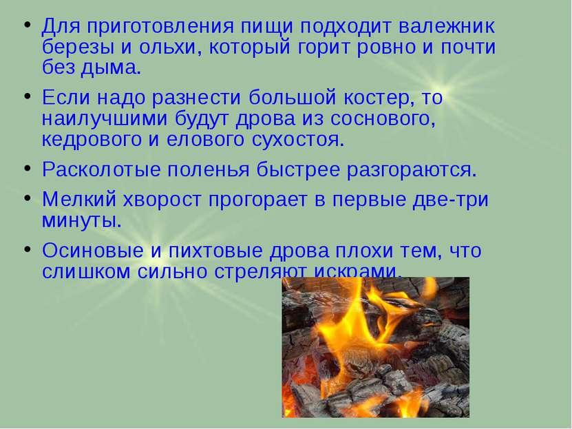 Для приготовления пищи подходит валежник березы и ольхи, который горит ровно ...