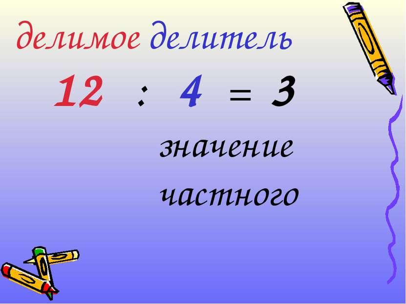 делимое делитель 12 : 4 = 3 значение частного