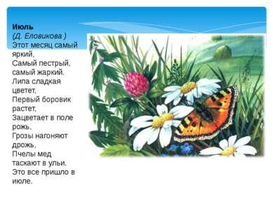 Июль (Д. Еловикова ) Этот месяц самый яркий, Самый пестрый, самый жаркий. Лип...