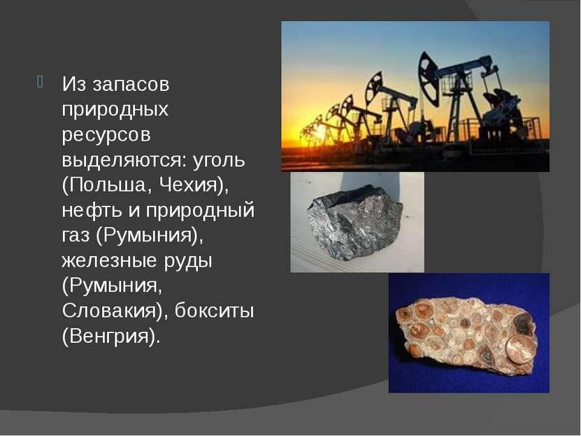 Из запасов природных ресурсов выделяются: уголь (Польша, Чехия), нефть и прир...