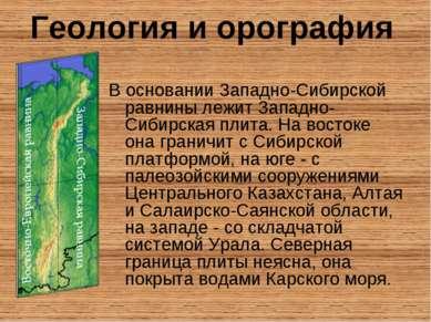 В основании Западно-Сибирской равнины лежит Западно-Сибирская плита. На восто...