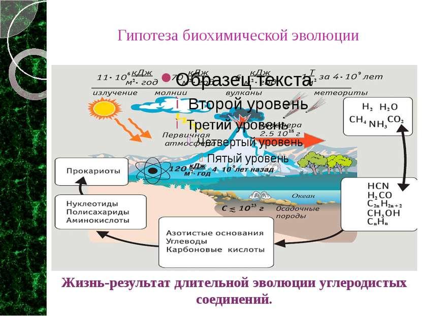 Гипотеза биохимической эволюции Жизнь-результат длительной эволюции углеродис...