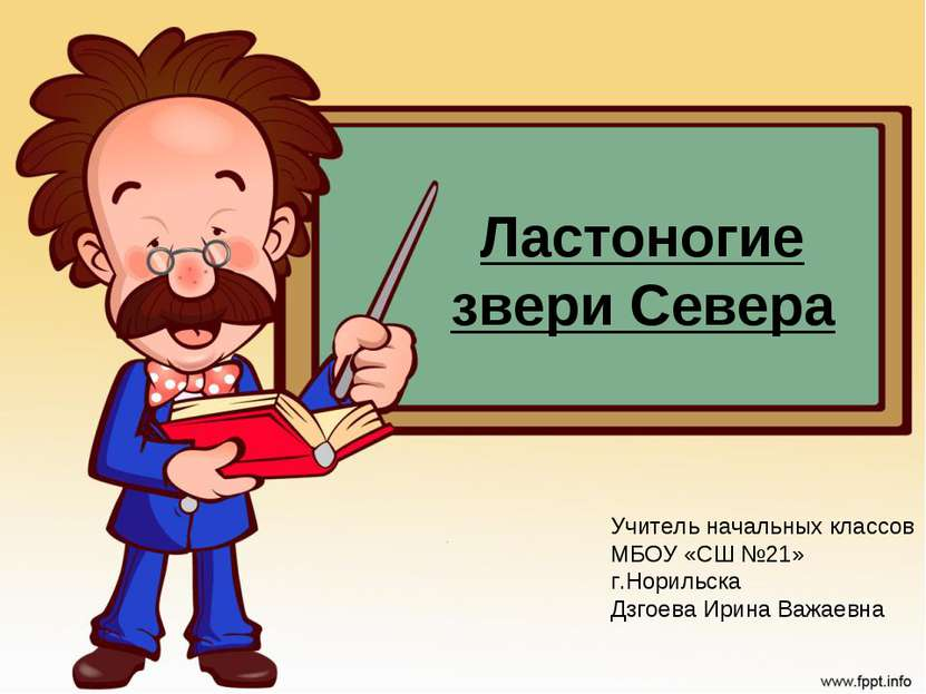 Ластоногие звери Севера Учитель начальных классов МБОУ «СШ №21» г.Норильска Д...