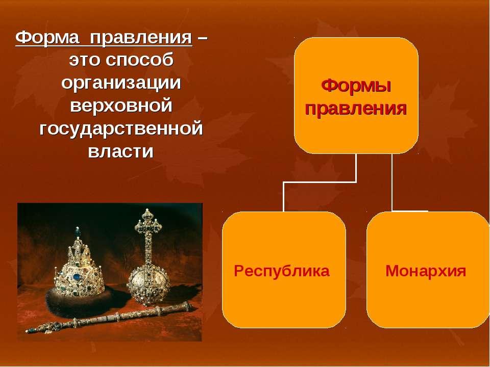 Форма правления – это способ организации верховной государственной власти