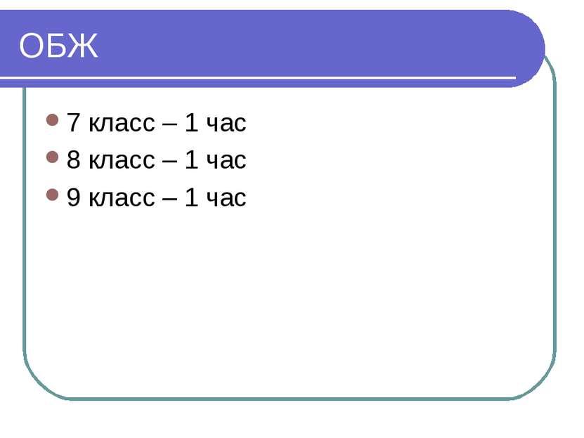 ОБЖ 7 класс – 1 час 8 класс – 1 час 9 класс – 1 час
