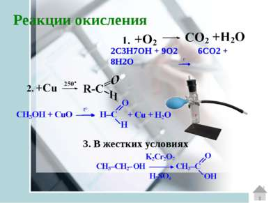 Реакции окисления 2С3H7ОH + 9O2 6СO2 + 8H2O  3. В жестких условиях