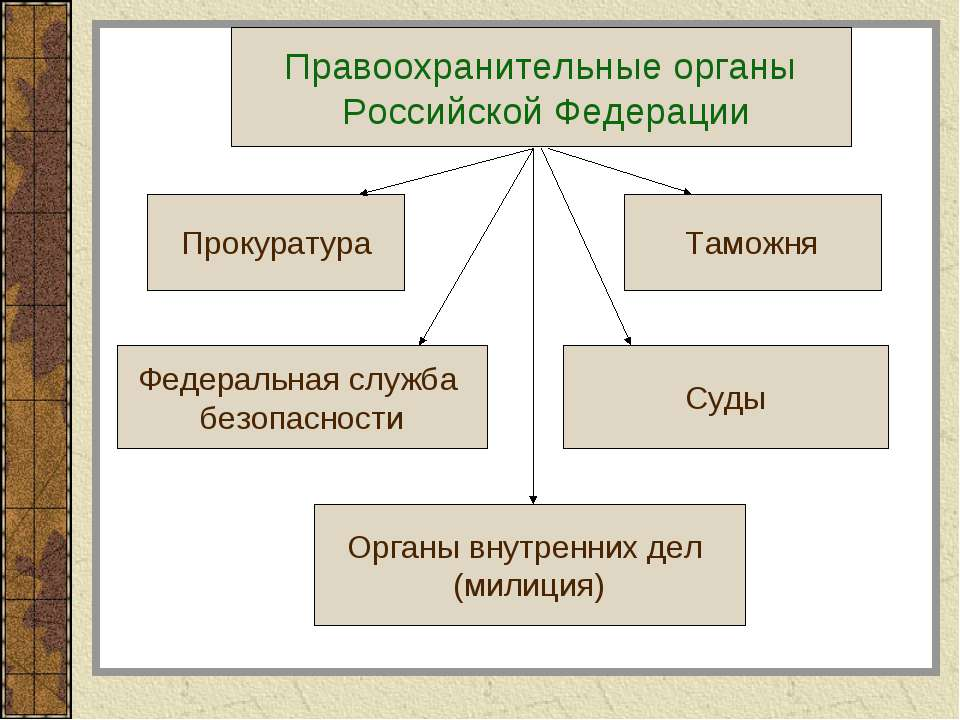 Правоохранительные органы Российской Федерации Прокуратура Таможня Федеральна...