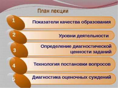 План лекции Показатели качества образования 1 Определение диагностической цен...