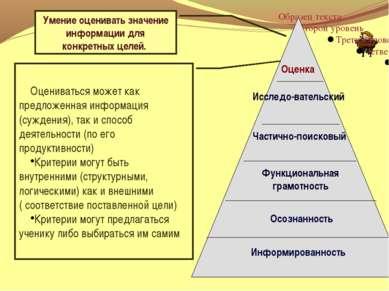 Осознанность Информированность Умение оценивать значение информации для конкр...