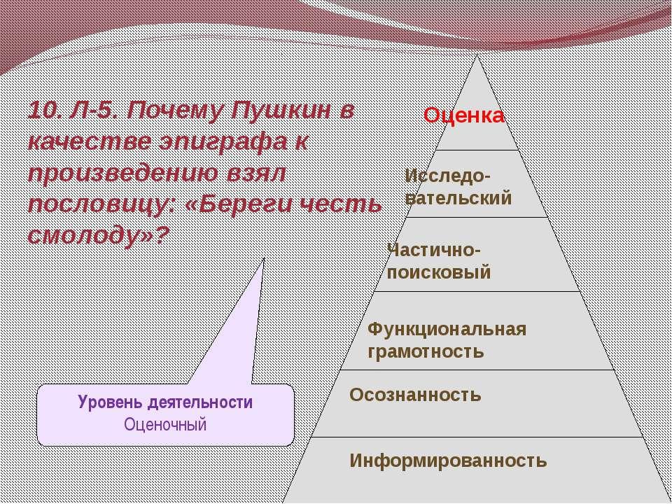 10. Л-5. Почему Пушкин в качестве эпиграфа к произведению взял пословицу: «Бе...