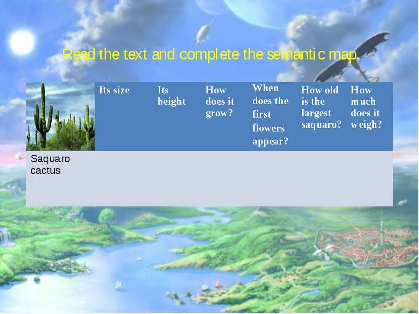 Read the text and complete the semantic map.         Its size Its height How ...