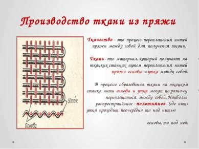 Производство ткани из пряжи Ткачество - это процесс переплетения нитей пряжи ...