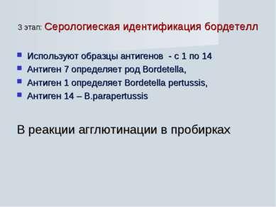 3 этап: Серологиеская идентификация бордетелл Используют образцы антигенов - ...