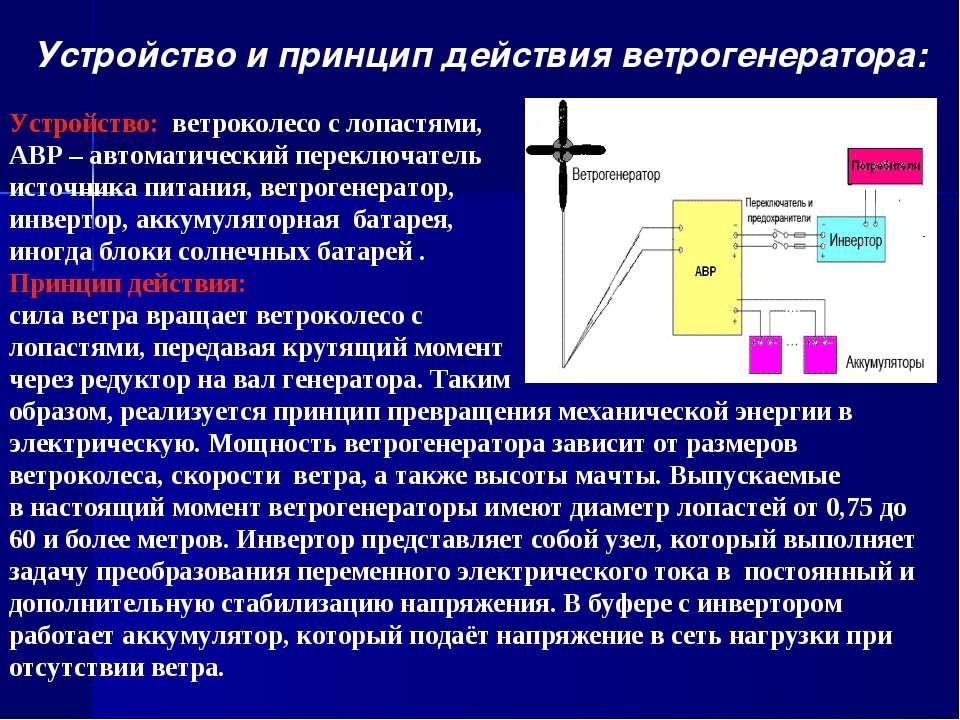 Устройство и принцип действия ветрогенератора: Устройство: ветроколесо с лопа...