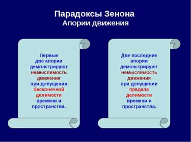 Парадоксы Зенона Апории движения Первые две апории демонстрируют немыслимость...