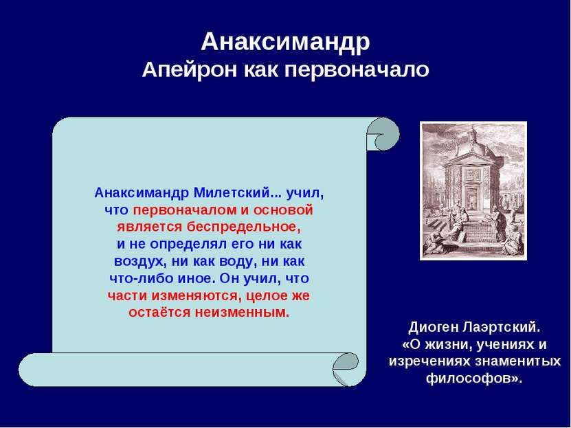 Анаксимандр Апейрон как первоначало Диоген Лаэртский. «О жизни, учениях и изр...