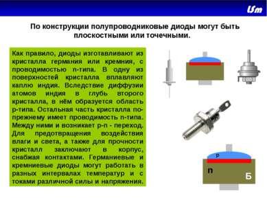 По конструкции полупроводниковые диоды могут быть плоскостными или точечны...